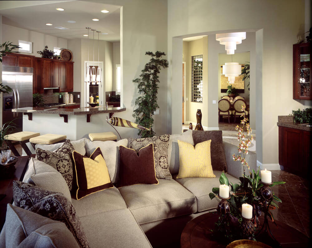 High Quality Elegant Living Room With A Small Sectional Sofa Decorated With Colorful  Pillows