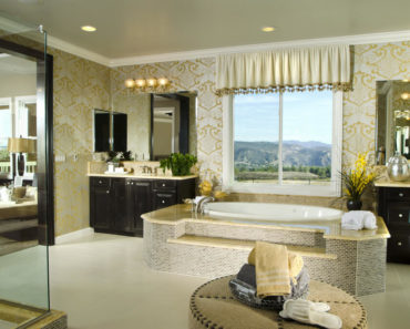 Luxury master bathroom with large soaking tub in the center