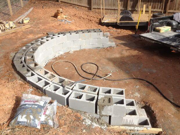 Mortar the Blocks for Veneer Patio with Firepit