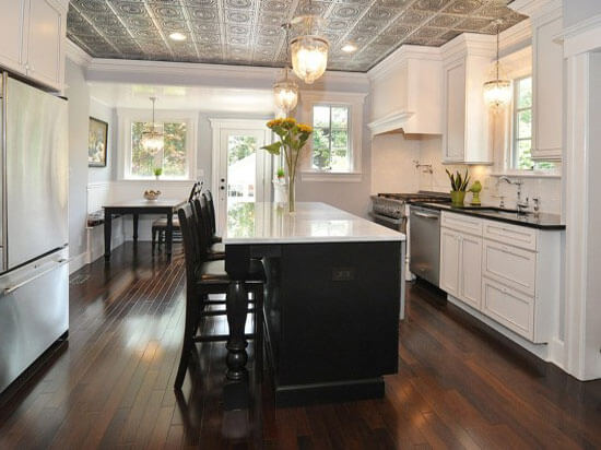 Exceptional White Kitchen With Ceiling Tiles