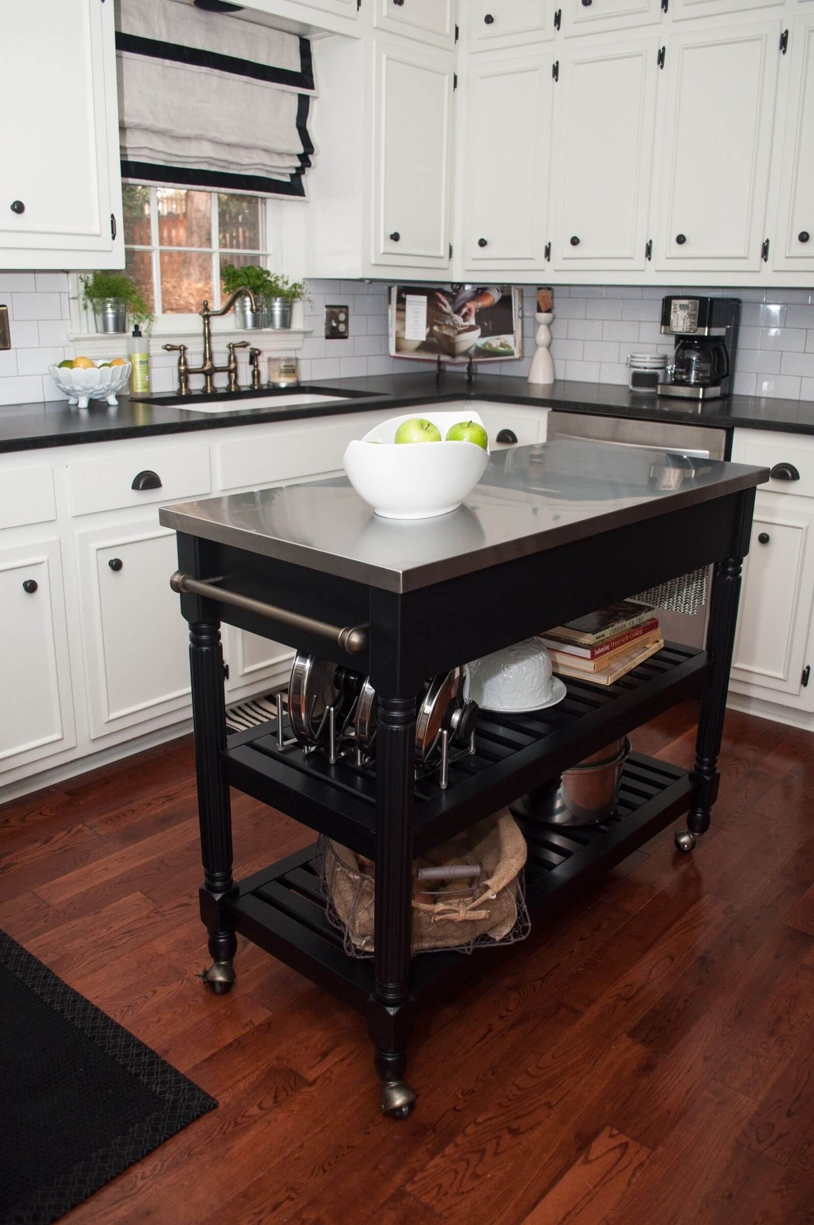 white kitchen with dark portable kitchen island on wheels - Kitchen Island On Wheels