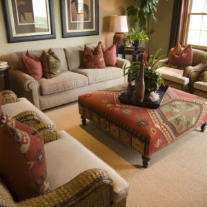 Living room with ottoman coffee table