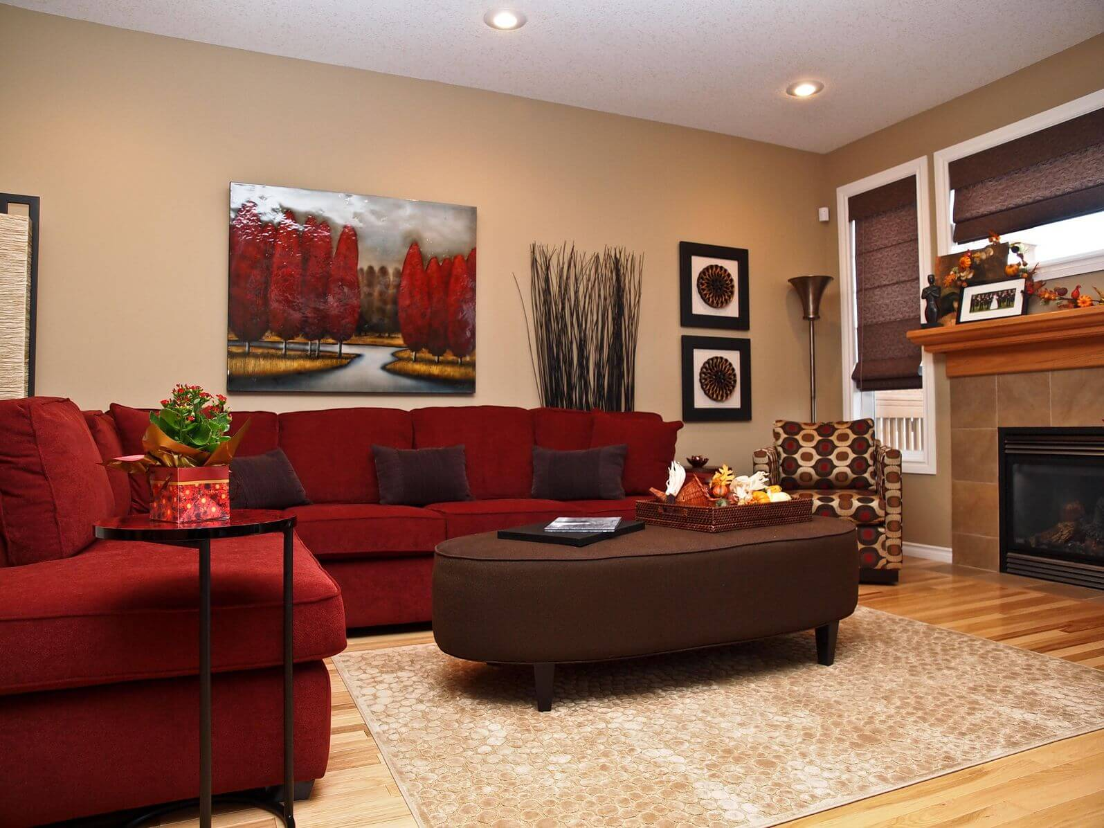 50 beautiful living rooms with ottoman coffee tables home lush red l shaped sectional sofa wraps around this plush brown oval ottoman in fabric
