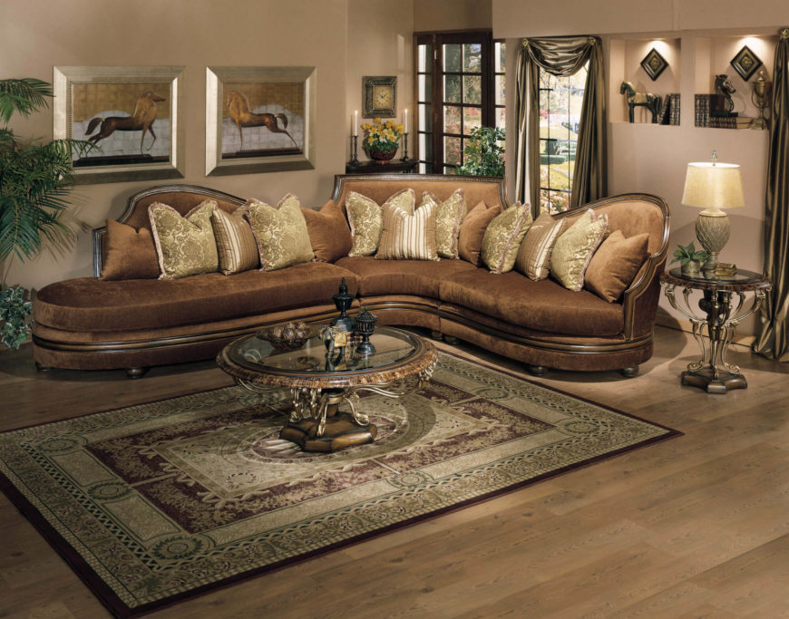 Flared Mahogany Sectional With Chaise