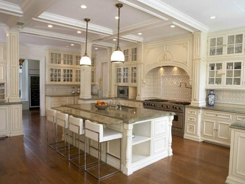 ornate white kitchen with wood flooring the attention to detail throughout is second to - Luxury White Kitchens
