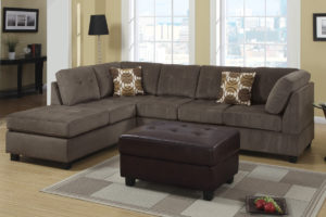 three piece sectional chaise with ottoman by poundex - Sectional With Chaise