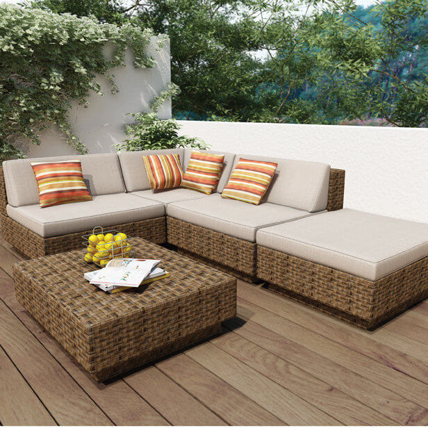 L Shaped Patio Sectional Features Large Ottoman Segment, With Low Slung  Backs,
