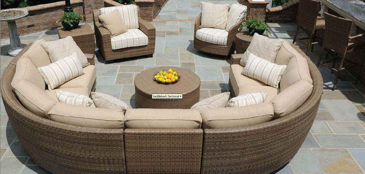 Immense Patio Sectional Includes Main C Shaped Conversational Body,  Armchair, Circular Chair,