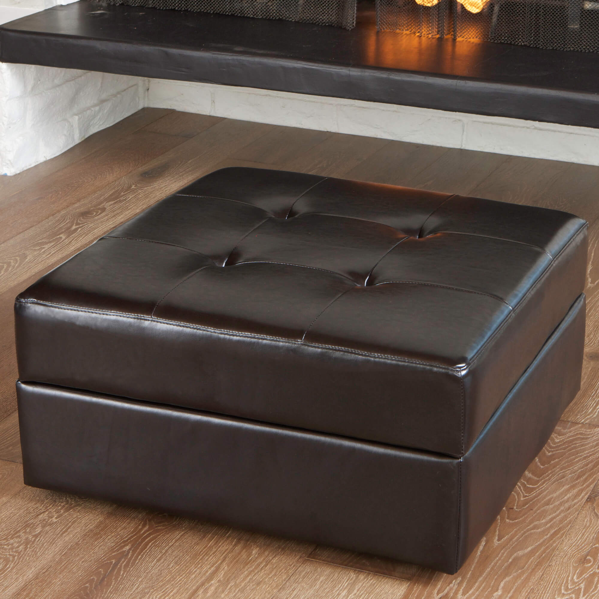 Genuine Leather Ottoman From Home Loft Concept Features Button Tufted  Cushioning With Hidden Internal Storage.