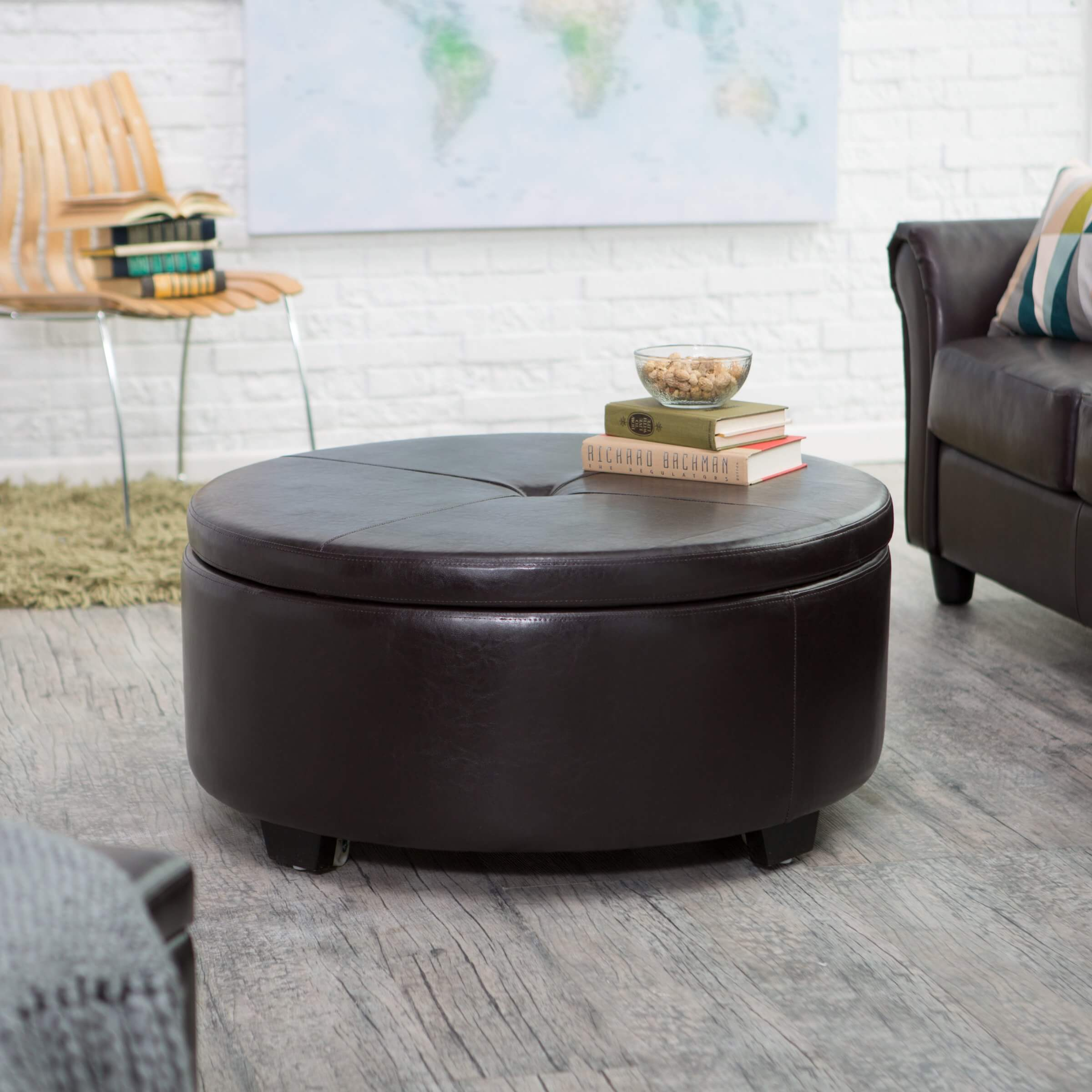 Large Circular Bonded Leather And Wood Ottoman Has Flip Top Button Tufted  Lid Featuring Full .