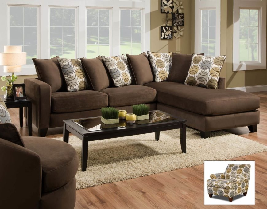 Chocolate Sectional with Chaise Lounge
