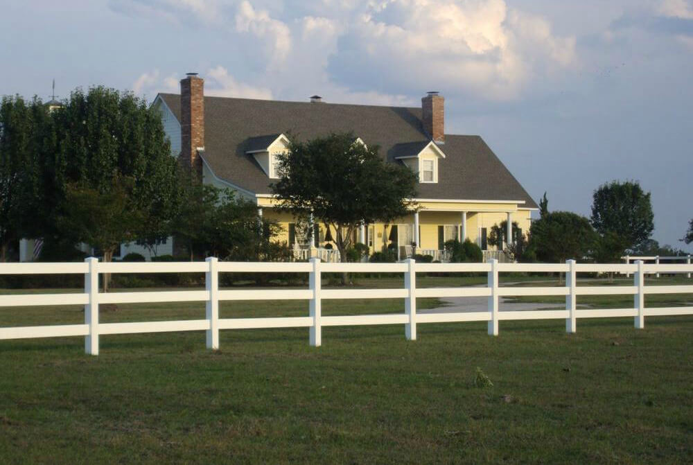 Front Yard Fence Ideas Part - 23: 3 Rail White Fence