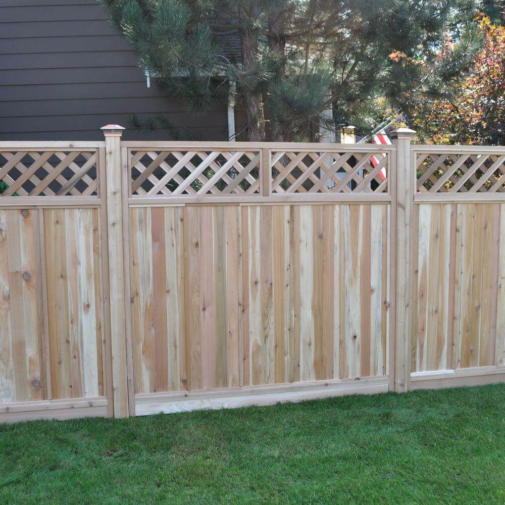 75 fence designs styles patterns tops materials and ideas western red cedar fence with lattice top baanklon Choice Image