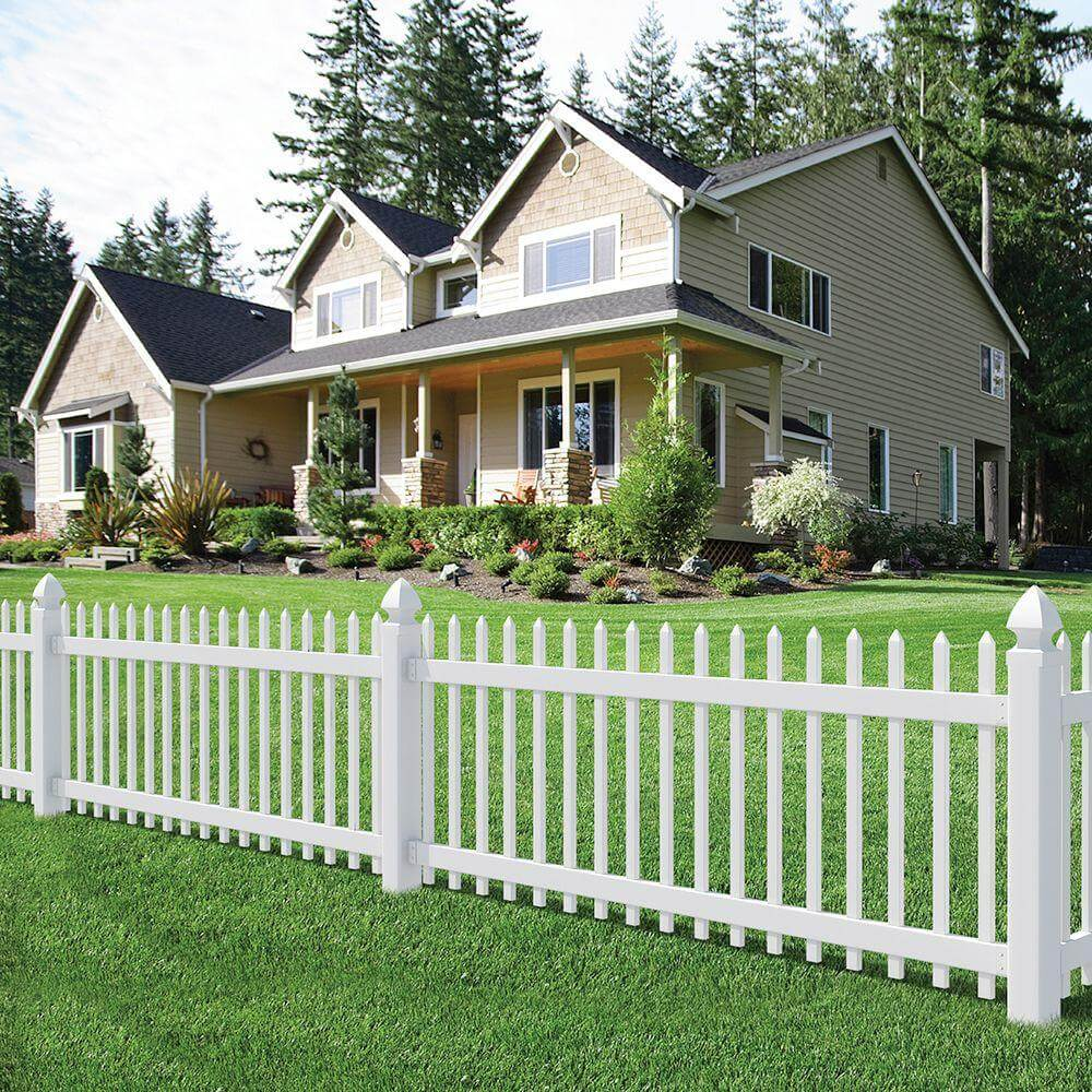 white decorative fence in the front yard - Fence Design Ideas