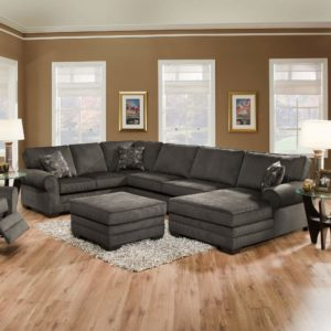 Multi Part Grey Sectional With Chaise