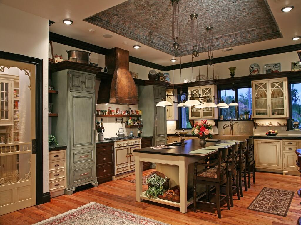 Uncategorized Luxurious Kitchen Designs 30 custom luxury kitchen designs that cost more than 100000 authentic country design with copper stove hood ceiling tiles in tray and distressed cabinets kitchen