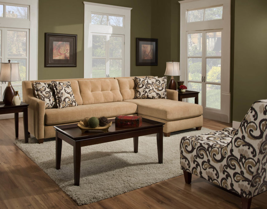 Camel Tone Two Piece Sectional with Chaise