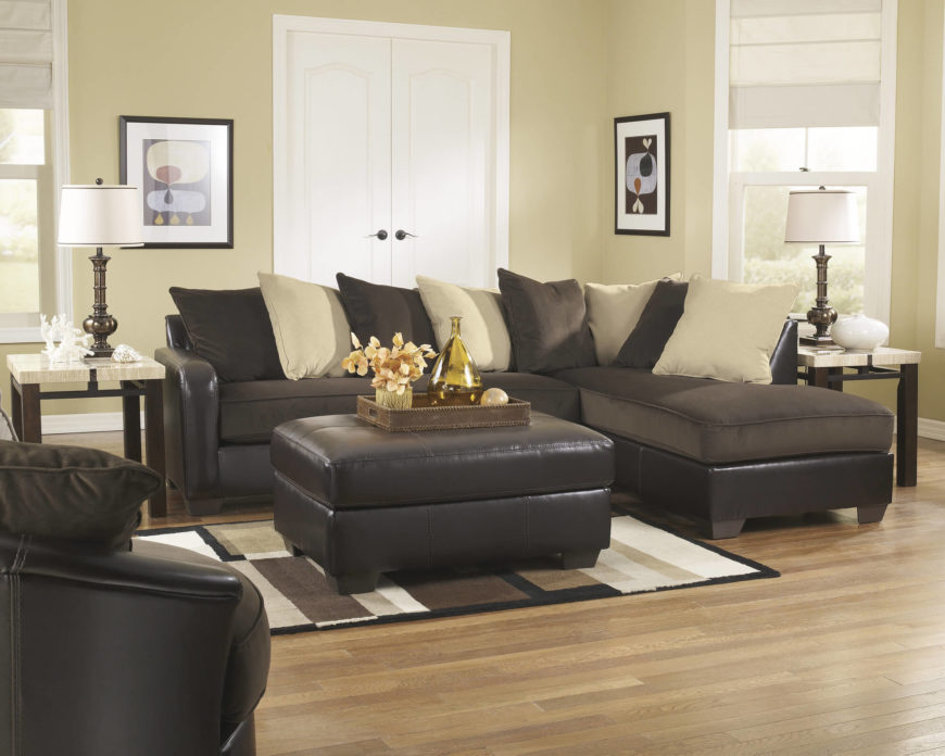 Beige and Chocolate Chaise Lounge Sectional