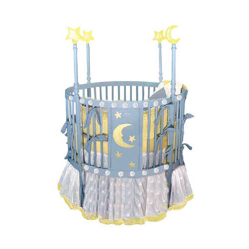 Blue finished round crib design in Ramin hardwood features stars and moon  design on center panel