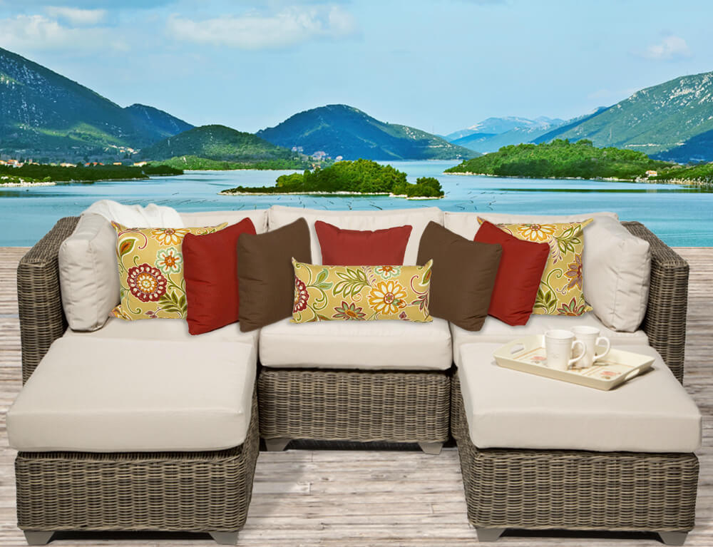 Lighter Toned Resin Wicker Body On This Patio Sectional Holds Thick Light  Beige Cushioning, With . Part 84