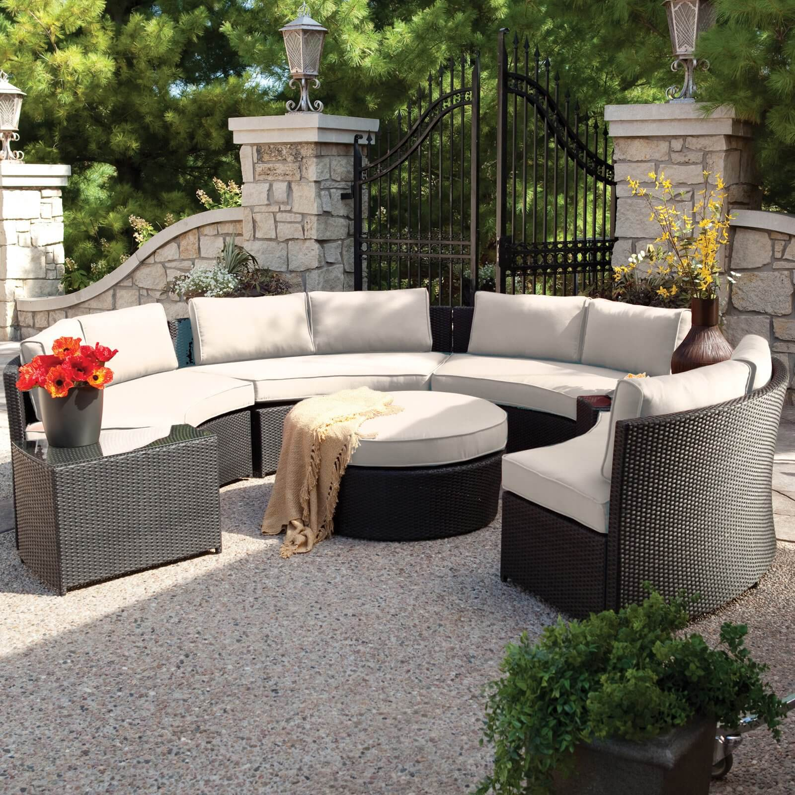 Large, Circular Conversation Patio Sectional Features High Contrast Between  Dark Resin Wicker Construction And Off .