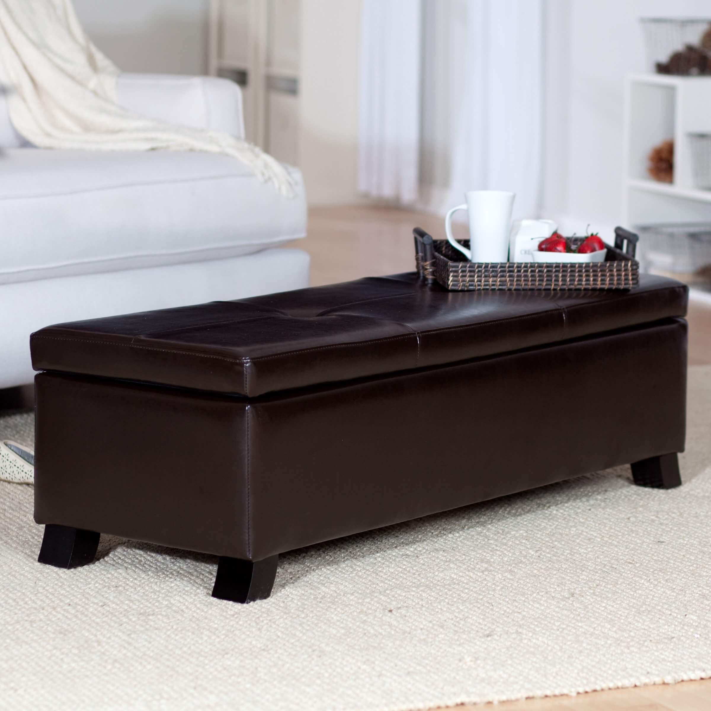 This Crawford Bonded Leather Bench Ottoman Features Button Tufted Cushion  Surface, Swinging Open To Reveal .
