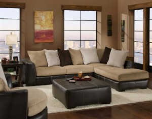 Two-tone Leather Bottom Sectional : two tone leather sectional - Sectionals, Sofas & Couches