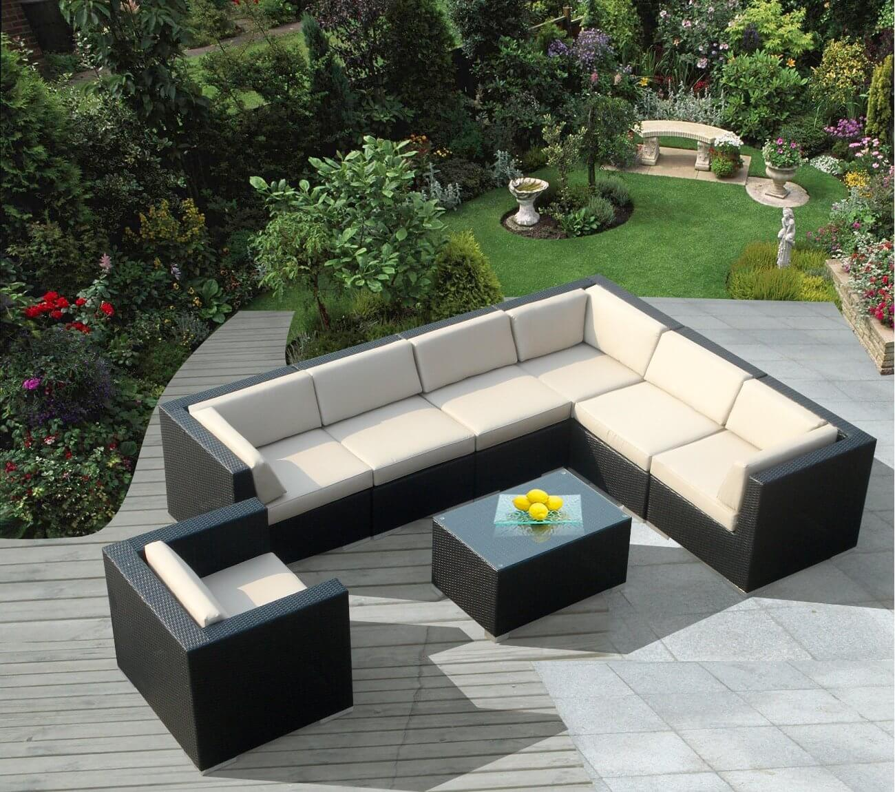 Lengthy L Shaped Wicker Patio Sectional In Black And Eggshell Tones  Features Matching Armchair Plus .