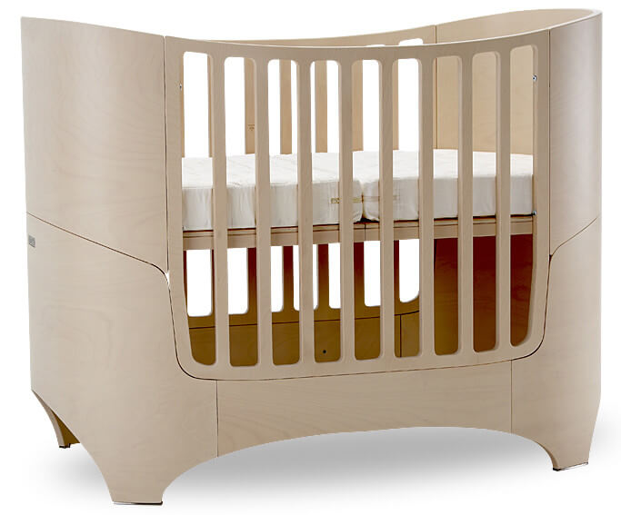 This 4-in-1 crib with convertible mattress, from Leander, features four distinct stages. Crib with 2 mattress heights, day bed, transition bed, and junior bed cover the first several years of your child's life. All needed conversion components are included with the crib packaging. Rounded beechwood construction offers elegant touch.