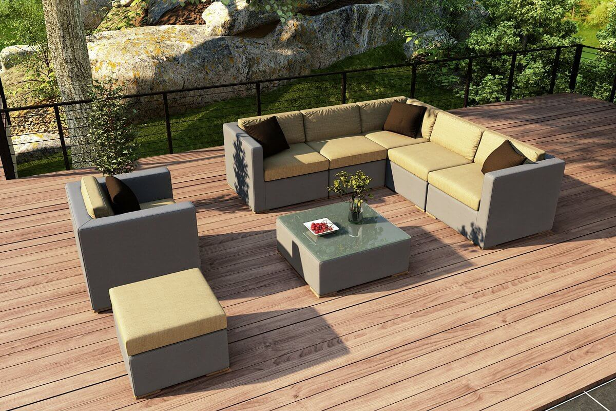 25 awesome modern brown all weather outdoor patio sectionals for Outdoor furniture yellow