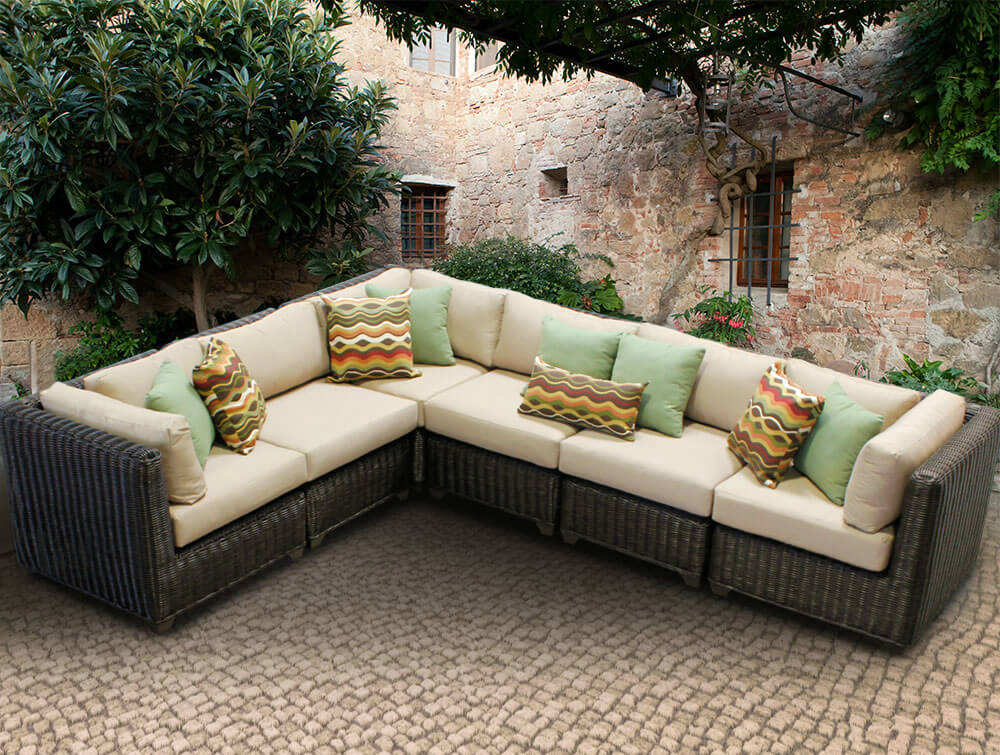 l shaped resin wicker patio sectional in dark brown and beige cushioning features multiple cubic