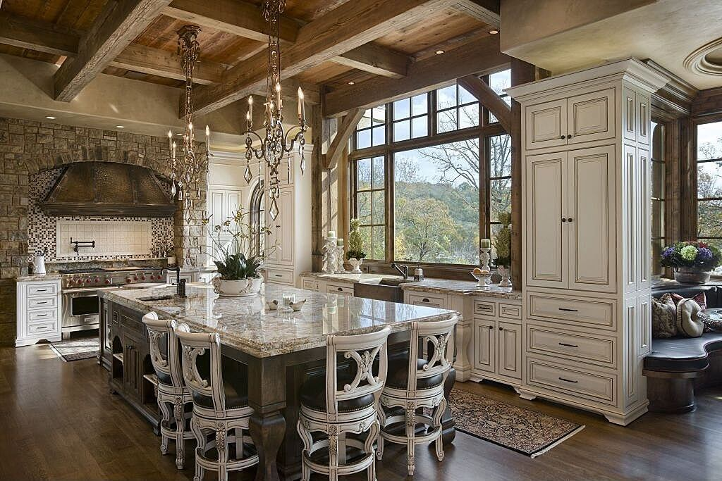Elegant Country Kitchen Design With Nice Contrast Of Light And Dark  Materials