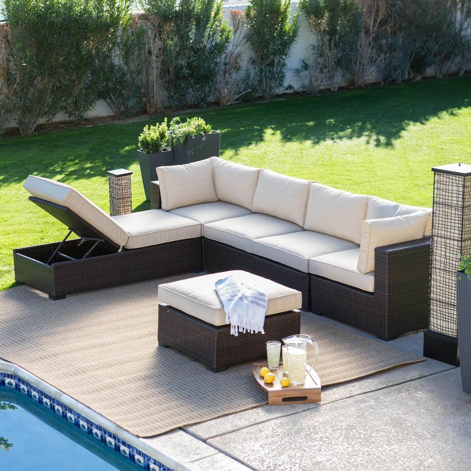 25 awesome modern brown all weather outdoor patio sectionals. Black Bedroom Furniture Sets. Home Design Ideas