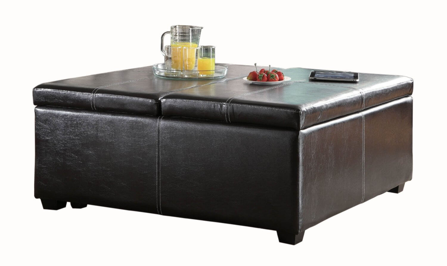 Brown Leatherette Ottoman Features Both Lift Top Lid On One Side, For  Convenient Reading .
