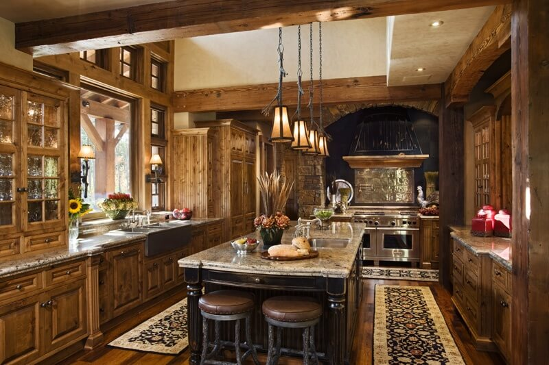 Luxurious Rustic U Shaped Kitchen With Natural Wood Throughout.
