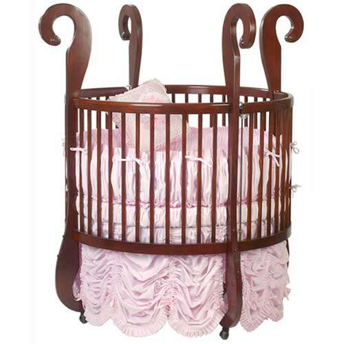 Small wood round baby crib