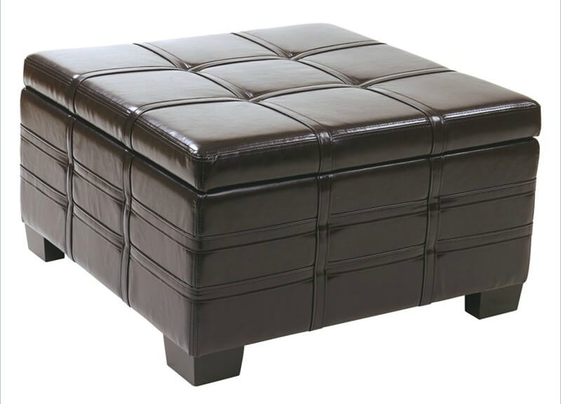 Hinged Eco leather ottoman from Avenue Six features hinged top with interior storage and sliding tray .  sc 1 st  Home Stratosphere & 36 Top Brown Leather Ottoman Coffee Tables islam-shia.org