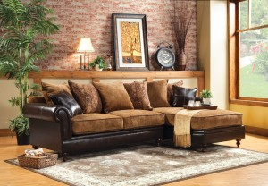 Leather And Fabric Chaise Sectional (by EnitialLab)