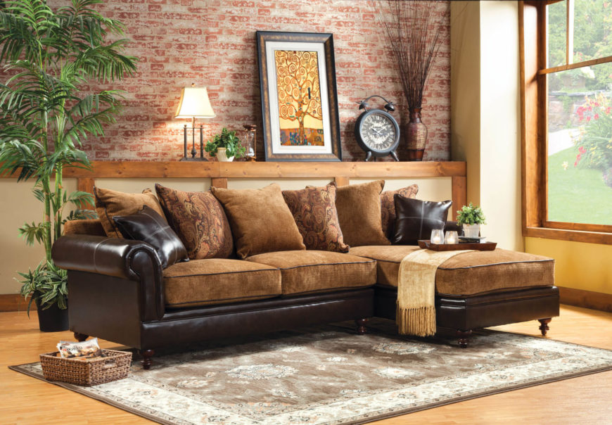 Leather and Fabric Chaise Sectional