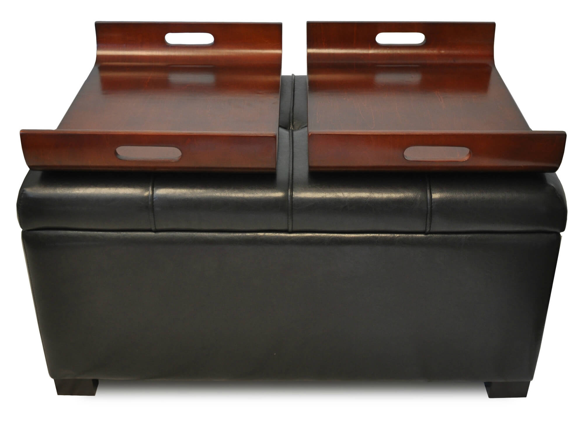 This Versatile Brown Ottoman Features Tufted Leather Cushion Lid, With  Interior Storage And Removable Curved .