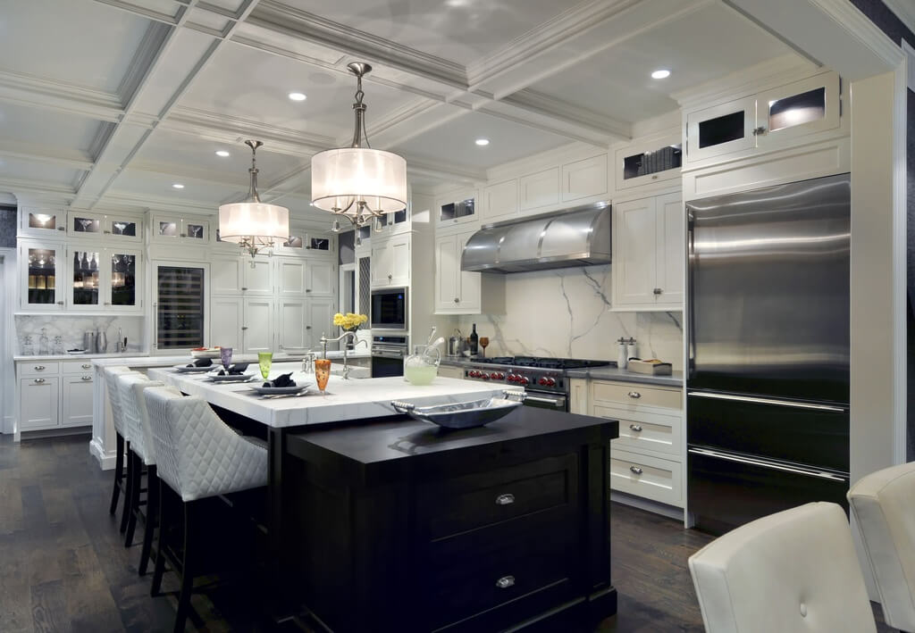 Contemporary kitchen with modern design elements estimated to cost well in excess of $100K.
