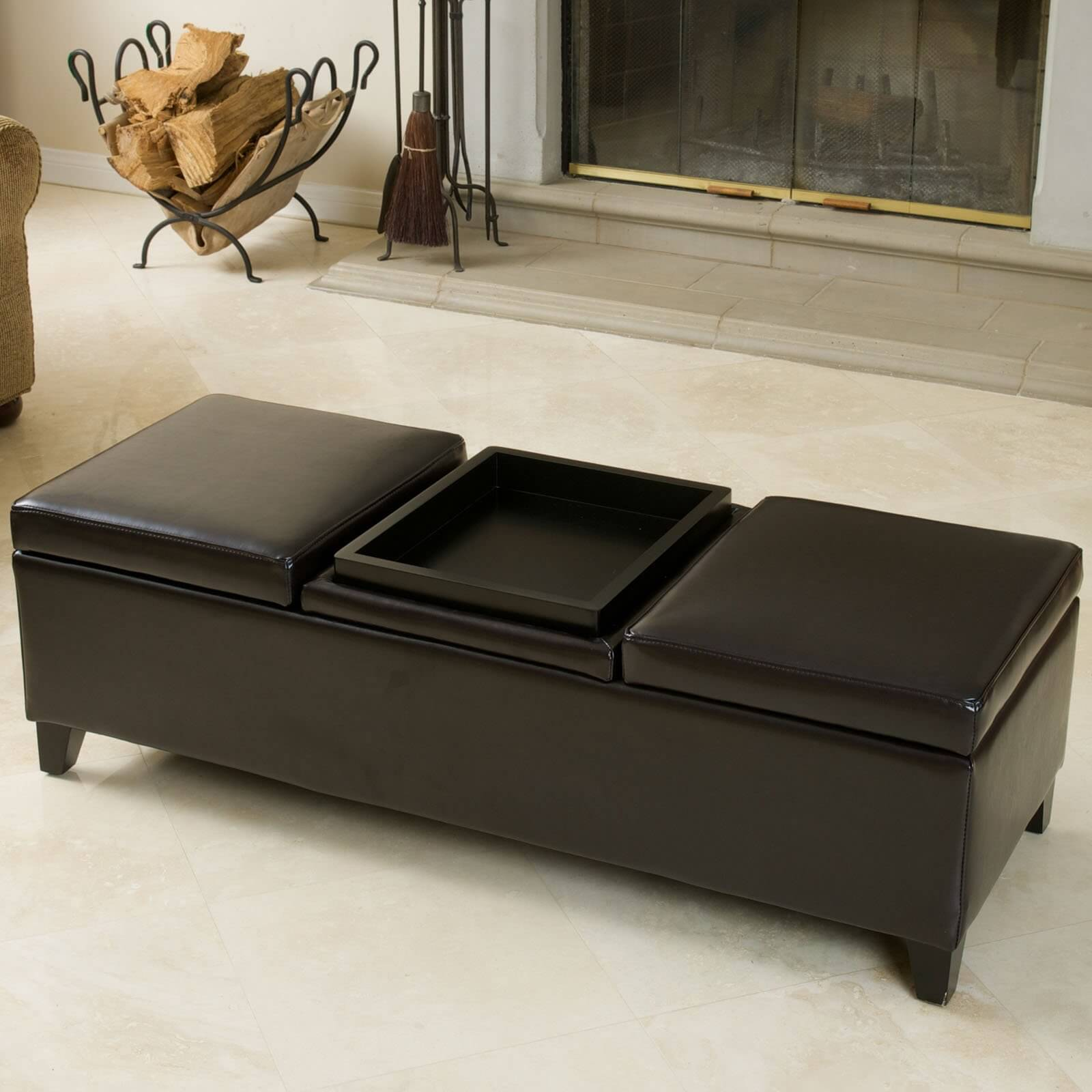 36 top brown leather ottoman coffee tables this triple topped bench ottoman features flippable center cushion for tray table with storage geotapseo Choice Image