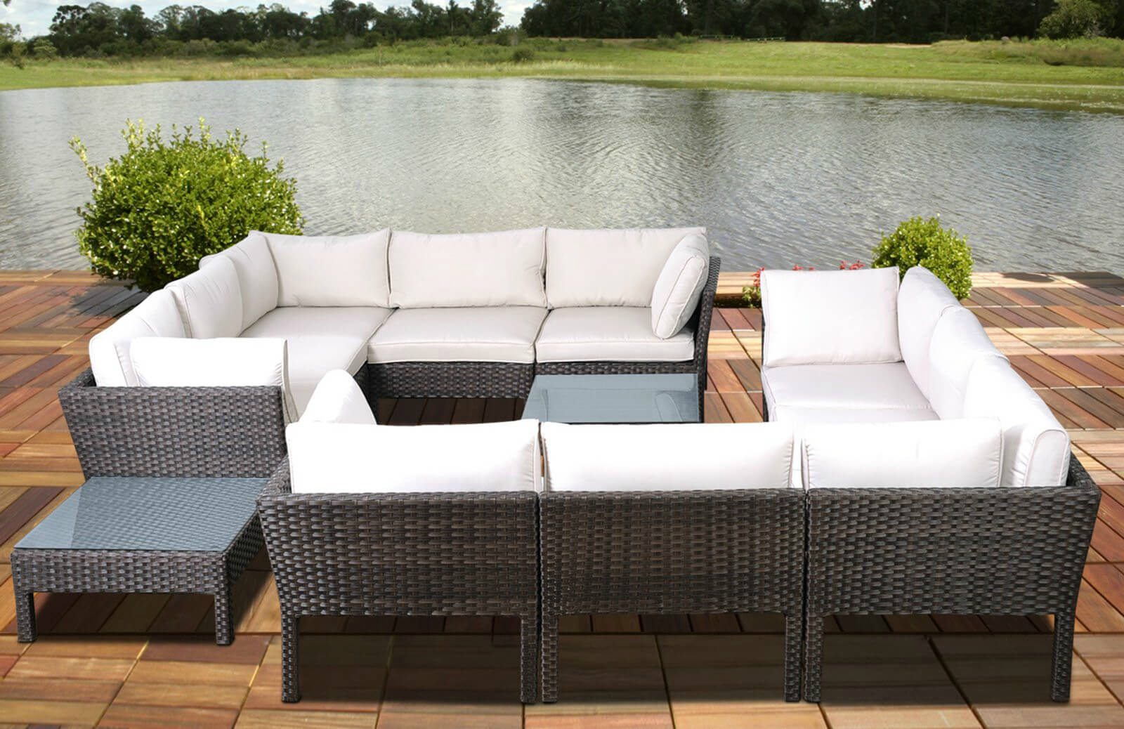 This Elaborate Conversational Sectional Features Twin L Shaped Sections  Pairing For A Rectangular Set,