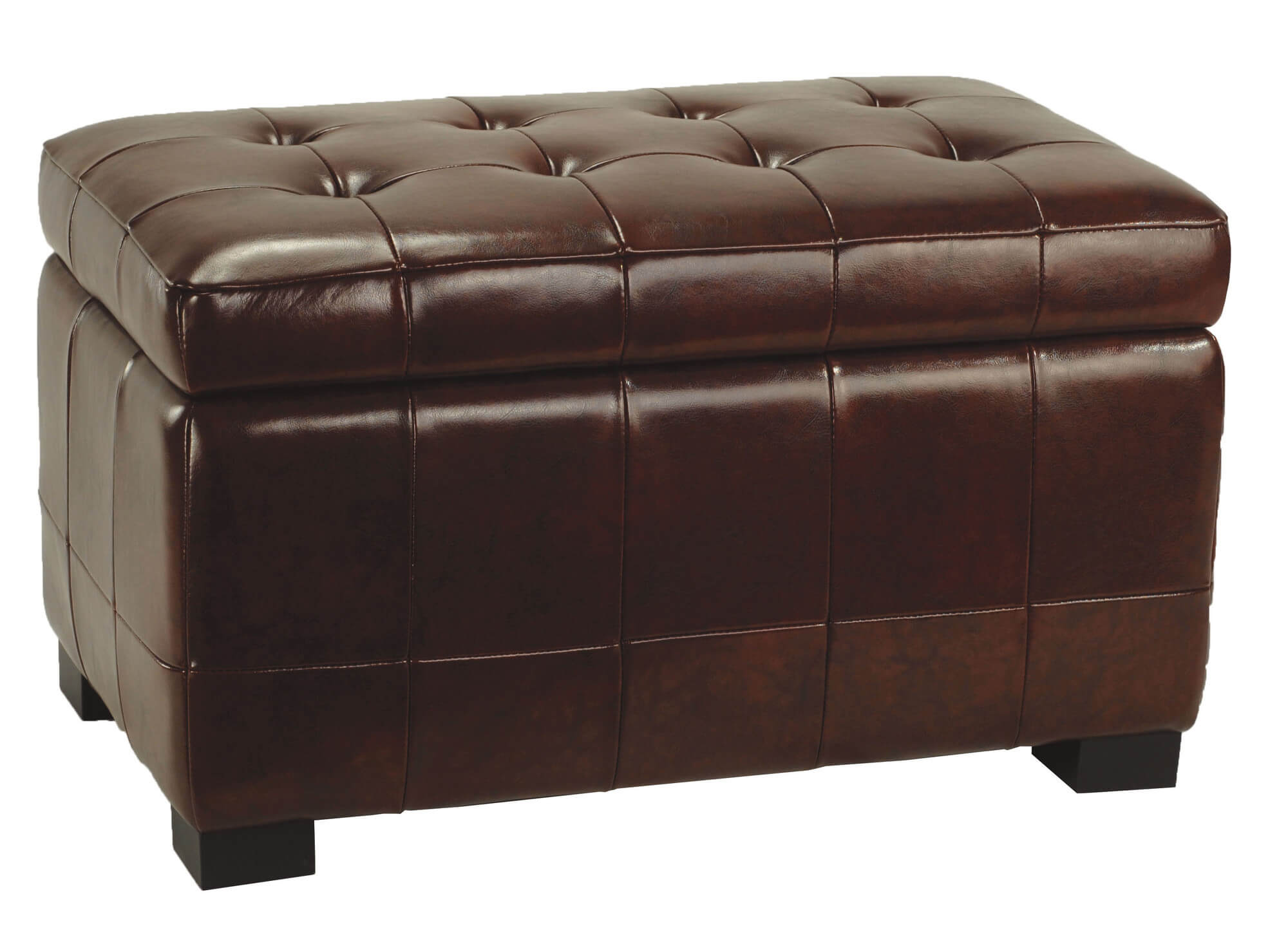 Large beechwood ottoman from Safavieh is clad in leather and features hinged cushion lid for storage .  sc 1 st  Home Stratosphere & 36 Top Brown Leather Ottoman Coffee Tables islam-shia.org