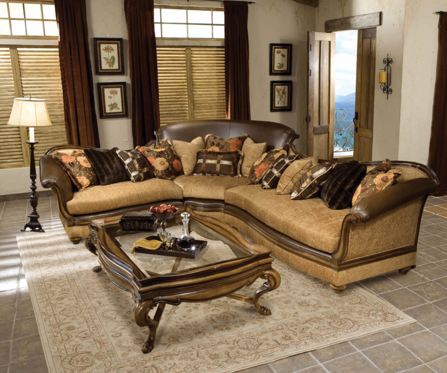 Mahogany Camel Back Sectional