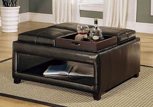 Brown Ottoman Coffee Table Features Four Flip Top Cushions With Individual  Trays, Plus Lower .