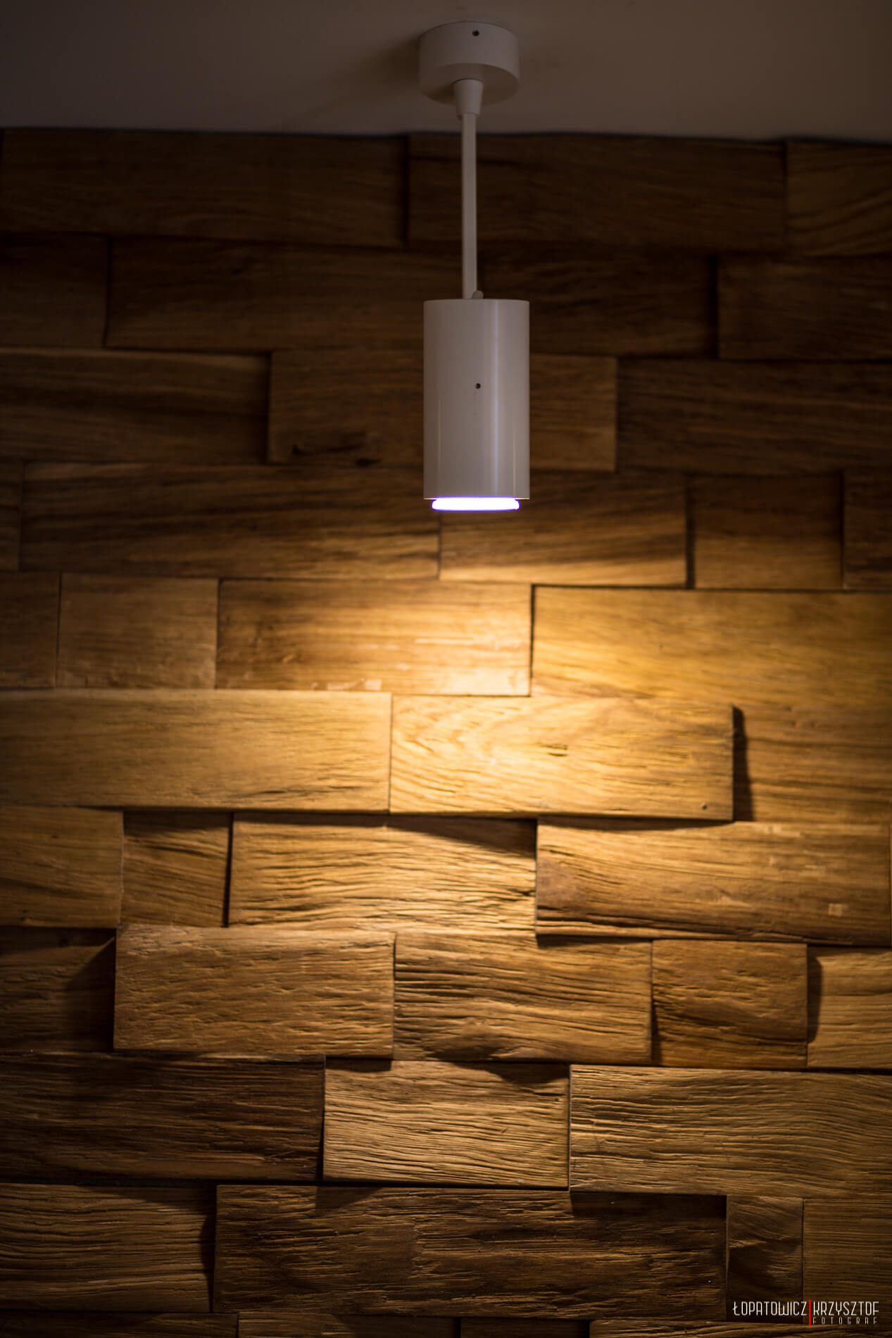 One of the ceiling-mounted focused lights is highlighted here, against the playful wood brick wall.