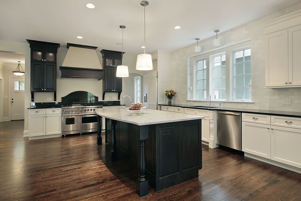 dark kitchen cabinets. Large Kitchen With Black Island And Mix Of White Cabinets Dark