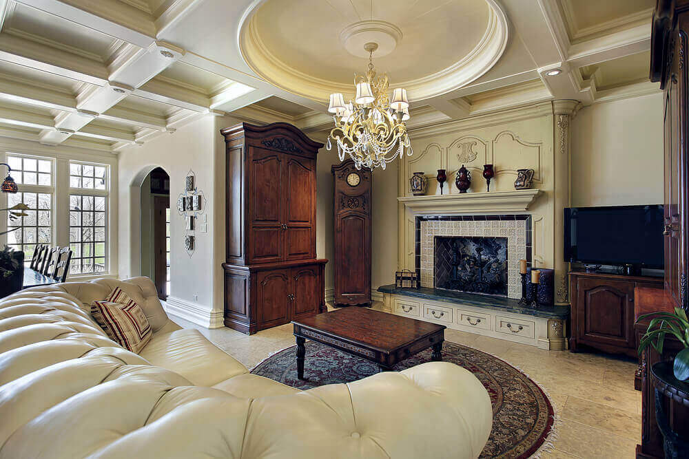 Luxurious textures abound in this living room  from the detailed ceiling pattern to carved wood 36 Elegant Living Rooms that are Richly Furnished Decorated
