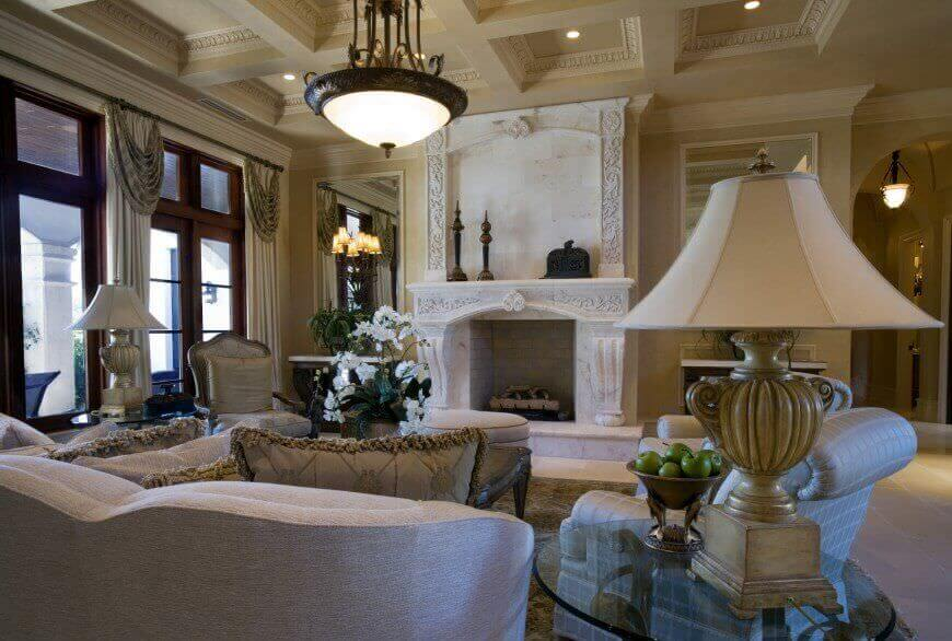 Here S The Opposite View Of The Prior Room Highlighting Full Height Marble Fireplace Surround